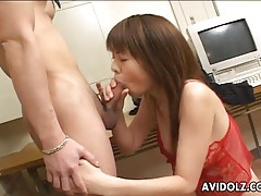 Secretary strips to her red lingerie and sucks a dick tubes