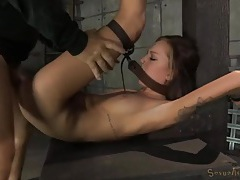 Bound young lady fucked by a pair of guys tubes