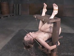 Foot pain for the vulnerable girl in bondage tubes