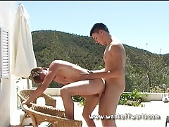 Twinks give oral and ball bareback outdoors tubes