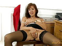Sexy black stockings on a cunt rubbing old lady tubes