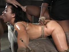 Mia austin deepthroats a dick in rope bondage tubes