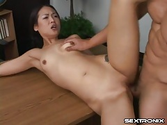 Pigtailed asian student blows him and they fuck lustily tubes