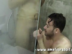 After shower anal sex with guys in the bathroom tubes
