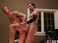 Big cock slides into a tight ass from behind tubes