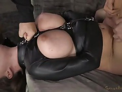 Krissy lyn double teamed in a leather straitjacket tubes