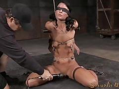 Tightly tied girl vibrated to multiple orgasms tubes