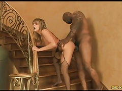 Her slutty white ass takes a big black cock tubes