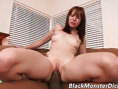 Redhead stretched out by a gigantic black dick tubes