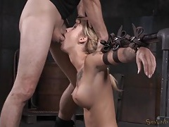 Dicks pound the throat and cunt of a bound girl tubes