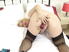 Stockings and a garter belt on a toy fucking mature lady tubes