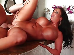 Tanned brunette bimbo with massive tits gets laid tubes