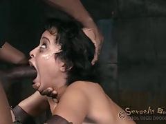 Aggressive face fucking of a girl in prayer bondage tubes