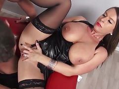 Leather is sexy on a big tits milf banging big cock tubes