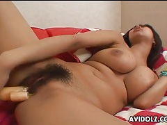 Big boobs japanese cutie fucks a toy into her hairy pussy tubes