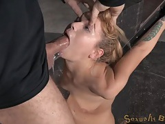 Masters takes turns face fucking their sex slave tubes