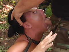 Sex slaves bound in the woods and used for pleasure tubes