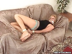 Bound and gagged blonde struggles to get free tubes