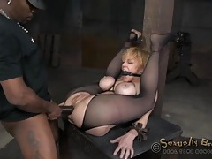 Bound sex slave anally destroyed by her masters tubes