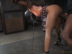 Hooded and bound black girl fucked in a dungeon tubes
