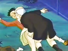 Dirty old man fingers a cartoon cutie in the park tubes