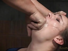 Curly hair slave girl bound and face fucked in a dungeon tubes