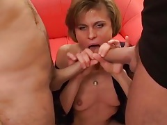 Cocks sucked by a skinny slut cum on her face tubes