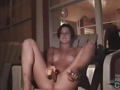 Cute college party girl fucks a banana tubes
