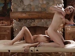 Redheaded masseuse seduces the lesbian client tubes