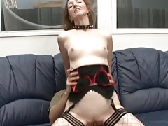 Milf whore in a collar lets him fuck her ass tubes