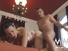 Skinny german in pink lingerie banged in her hot twat tubes