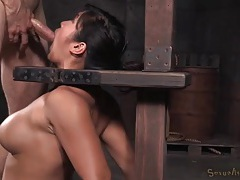 Orally talented asian slave girl gets throat fucked tubes
