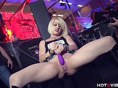 Petite blonde squirts uncontrollably tubes