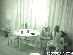 Hidden camera captures teen foreplay with a couple tubes