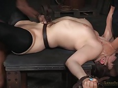 Rough bondage sex overwhelms a slutty brunette tubes