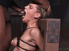 Her small tits are tied tight as she gets face fucked tubes