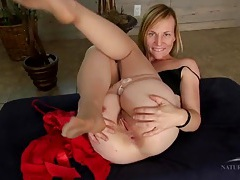 Mommy spreads her pussy lips and asshole open tubes