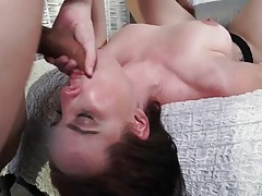 Her spit coats his dick in a sexy blowjob tubes