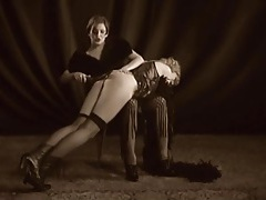 Vintage lesbian spanking of a naughty blonde tubes