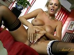 Milf maid licks her nipples and masturbates tubes