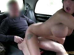 Big cock cab driver fucks a brunette bimbo slut tubes