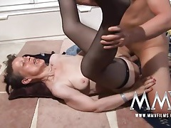 Granny in black stockings fucked in her wet pussy tubes