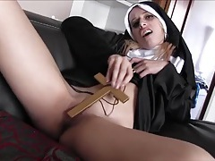 Fat priest and a horny young nun get it on tubes