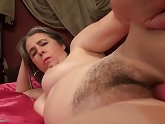 Pink dildo drives into her hairy mature pussy tubes