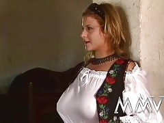 German beauty in the stables is eager to suck dick tubes