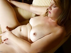Cute mature blonde fingers and fondles solo tubes