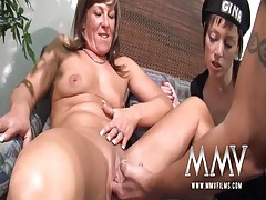 Milf and guy in a wig screw with a cute chick tubes