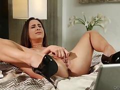 Sexy big natural boobs girl toys her tight pussy tubes