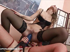 Rita is bent over and fucked with a huge strapon dildo tubes