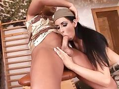 Big tits military slut sucks a horny soldier tubes